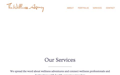 Screenshot of Services Page thewellnessagency.com - Wellness Travel Marketing | The Wellness Agency - captured Feb. 28, 2016