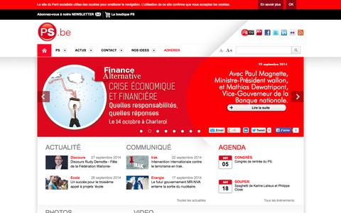 Screenshot of Home Page ps.be - Accueil  -  PS - Parti Socialiste - captured Oct. 1, 2014