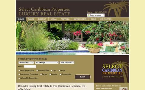 Screenshot of Home Page selectcaribbean.com - Dominican Republic Real Estate | Houses/villas, condos/apartments and lots for sale | SelectCaribbean.com - captured Sept. 19, 2014