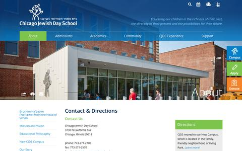 Screenshot of Contact Page Maps & Directions Page chicagojewishdayschool.org - Contact & Directions - Chicago Jewish Day School - captured Nov. 4, 2018