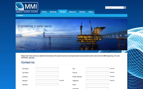 Screenshot of Contact Page mmiengineering.com - Contact MMI - MMI Engineering - captured Oct. 10, 2014