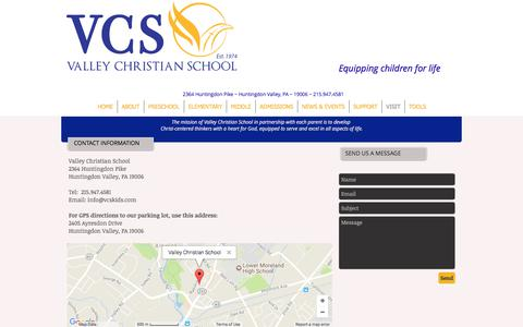 Screenshot of Contact Page Maps & Directions Page vcskids.com - Visit VCS | Valley Christian School PA - captured Oct. 26, 2017