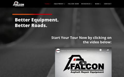 Screenshot of Home Page falconrme.com - Falcon Asphalt Repair Equipment | Better Equipment with Better Roads. - captured July 11, 2019