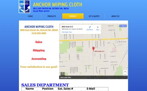 Screenshot of Privacy Page Contact Page anchorwipingcloth.com - Anchor Wiping Cloth : Contact - captured Feb. 6, 2016