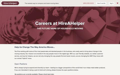 Screenshot of Jobs Page hireahelper.com - Careers at HireAHelper - HireAHelper.com - captured Jan. 19, 2016