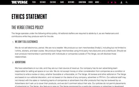 Ethics Statement - The Verge