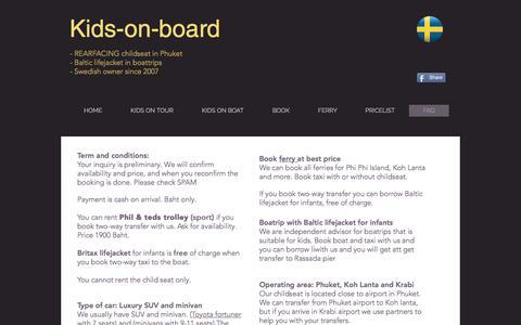 Screenshot of FAQ Page kids-on-board.com - Rearfacing childseat and lifejacket  in Phuket - captured Feb. 4, 2018