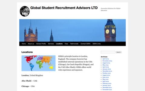 Screenshot of Locations Page gsra.org.uk - Locations | Global Student Recruitment Advisors LTD - captured Oct. 2, 2014
