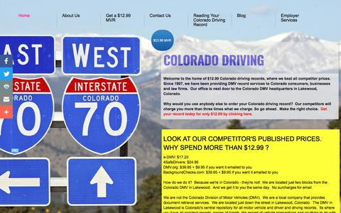Screenshot of Home Page coloradodrivingrecords.org - Colorado Driving Records $12.99 - captured Aug. 12, 2017