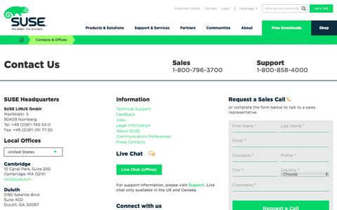 Screenshot of Contact Page suse.com - Contacts & Offices | SUSE - captured July 21, 2016