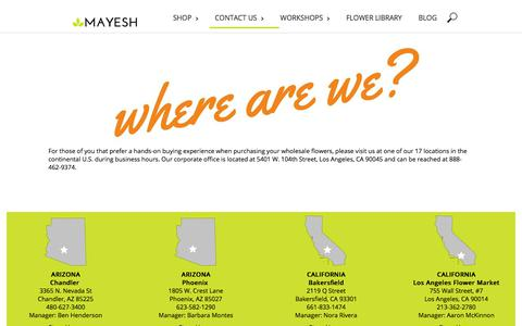 Screenshot of Locations Page mayesh.com - LOCATIONS - captured Aug. 27, 2018