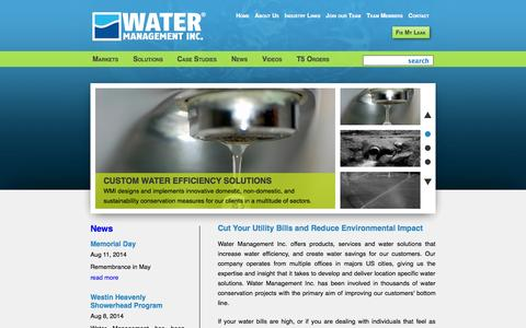 Screenshot of Home Page watermgt.com - The Water Efficiency and Conservation Experts | Water Management Inc. - captured Oct. 6, 2014