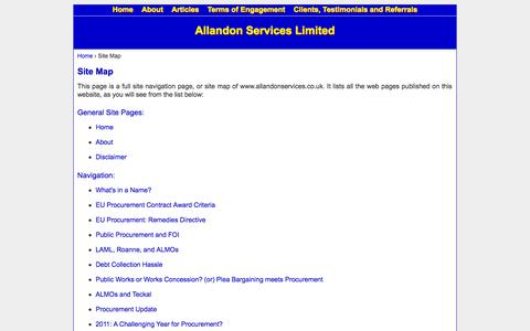 Screenshot of Site Map Page allandonservices.co.uk - Site Map - captured Oct. 4, 2014