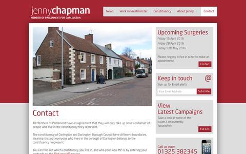 Screenshot of Contact Page jennychapman.co.uk - Contact - Jenny Chapman - captured May 21, 2016