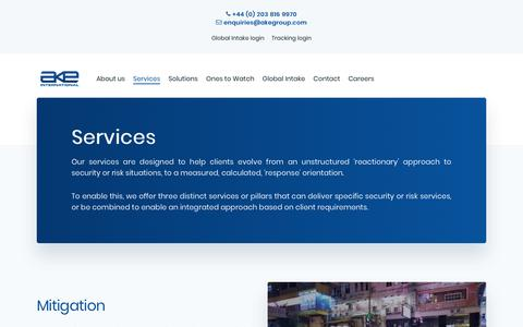 Screenshot of Services Page akegroup.com - Services - AKE International - captured Feb. 21, 2020
