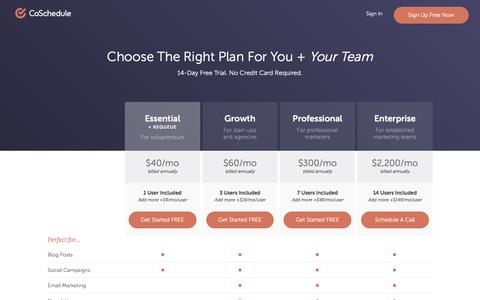 Screenshot of Pricing Page coschedule.com - CoSchedule Pricing - captured Sept. 26, 2017