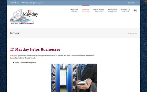 Screenshot of Services Page itmayday.com - Services | Technology Customization | Network management | IT Mayday - captured Sept. 10, 2018