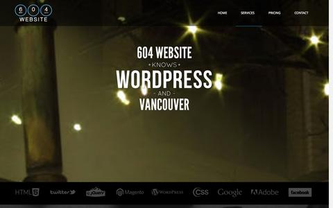 Screenshot of Services Page 604website.com - Vancouver WordPress Theme Customization Services | 604 Website - captured Oct. 9, 2014