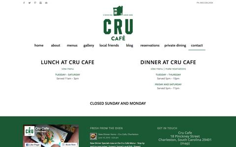 Screenshot of Hours Page crucafe.com - hours of operation - Cru Cafe - captured June 17, 2016