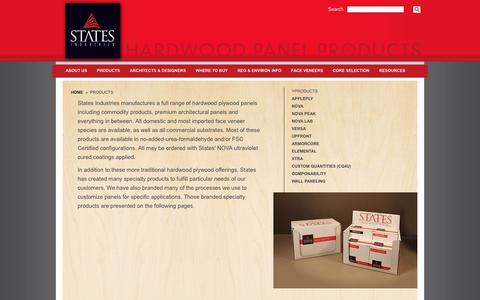 Screenshot of Products Page statesind.com - Products | States Industries - Hardwood Panel Products - captured Feb. 23, 2016