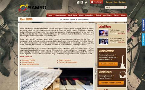 Screenshot of About Page samro.org.za - About SAMRO | SAMRO - captured Dec. 19, 2015