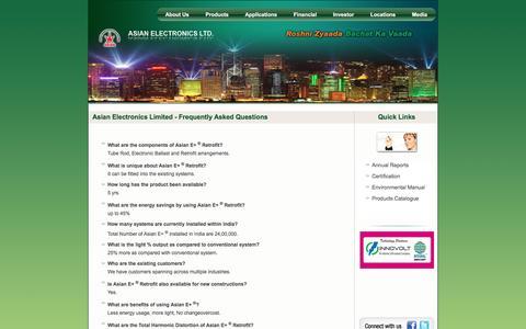 Screenshot of FAQ Page aelgroup.com - Asian Electronics Limited - captured Feb. 6, 2016