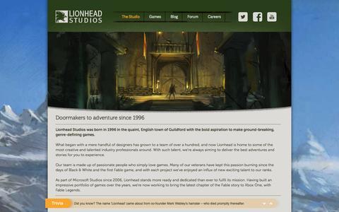 Screenshot of About Page lionhead.com - About Us - Lionhead - captured Jan. 18, 2016