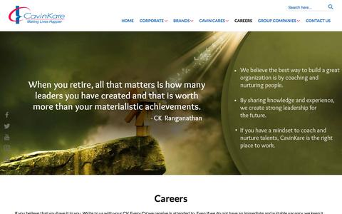 Screenshot of Jobs Page cavinkare.com - Careers - Cavinkare - captured July 16, 2018