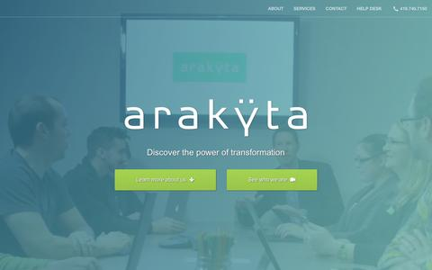 Screenshot of Home Page arakyta.com - Arakyta - captured July 27, 2016