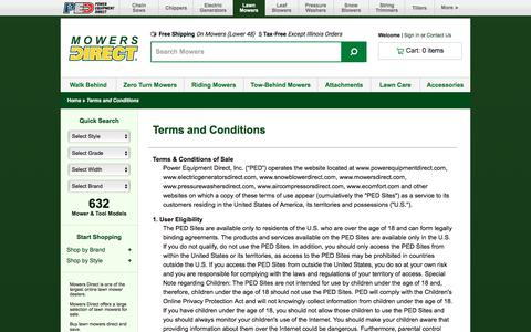 Screenshot of Terms Page mowersdirect.com - Terms of Use @ Mowers Direct.com - Your Online Mower Superstore - captured June 23, 2017