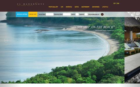 Screenshot of Home Page elmangroove.net - El Mangroove - Costa Rica Luxury Hotel at Papagayo Bay, Guanacaste Costa Rica - captured Oct. 2, 2014