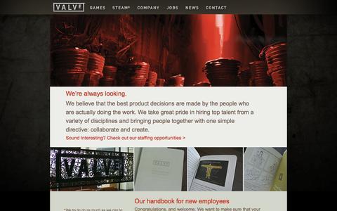 Screenshot of Jobs Page valvesoftware.com - Valve - captured Oct. 30, 2014