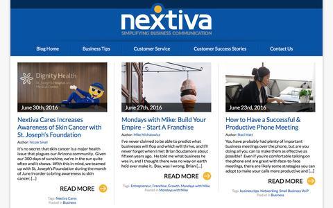 Screenshot of Blog nextiva.com - Business VoIP Resource Center - captured July 3, 2016