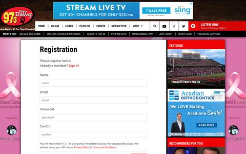 Screenshot of Signup Page 973thedawg.com - 97.3 The Dawg - Registration | 97.3 The Dawg - captured Oct. 5, 2018