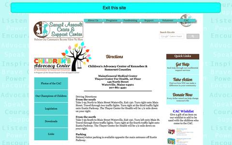Screenshot of Maps & Directions Page silentnomore.org - Directions to the Children's Advocacy Center of Kennebec and Somerset Counties - captured Oct. 3, 2016