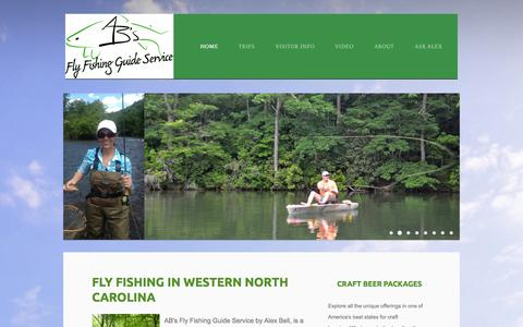 Screenshot of Home Page abfish.org - Alex Bell Fly Fishing Guide - Fly Fishing Trips with Alex Bell in Western North Carolina Mountain Trout Streams - captured Oct. 4, 2014