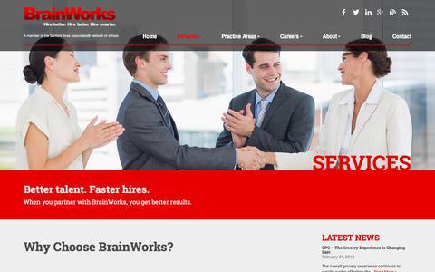 Screenshot of Services Page brainworksinc.com - CEO Recruitment & Relationship Marketing Management - captured Feb. 21, 2018