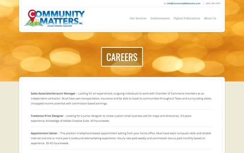Screenshot of Jobs Page communitymattersinc.com - Careers | Community Matters, Inc - captured May 20, 2017