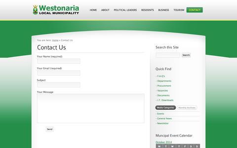 Screenshot of Contact Page westonaria.gov.za - Contact Us «  Westonaria Local Municipality - captured Oct. 26, 2014