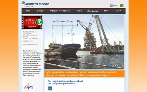 Screenshot of Home Page southern-marine.com - Southern Marine - captured Oct. 7, 2014