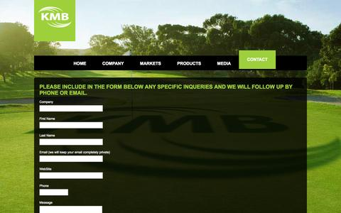 Screenshot of Contact Page kmb.us.com - Contact   KMB   Controlled Release Fertilizers - captured Oct. 8, 2014