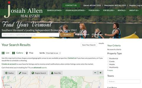Screenshot of Maps & Directions Page josiahallen.com - Southern VT Real Estate   Map Search   Josiah Allen Real Estate Southern Vermont's Leading Independent Brokerage. Since 1962. - captured Oct. 14, 2018