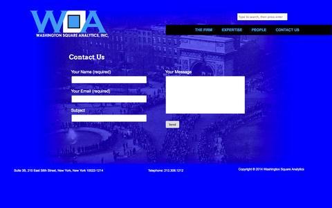 Screenshot of Contact Page washingtonsquareanalytics.com - Contact Us - captured Nov. 4, 2014