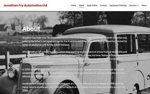Screenshot of About Page frysgarage.com - About – Jonathan Fry Automotive Ltd - captured Oct. 14, 2018