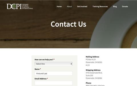 Screenshot of Contact Page dcpi.org - Contact Us | Dynamic Church Planting Intl - captured Oct. 9, 2018
