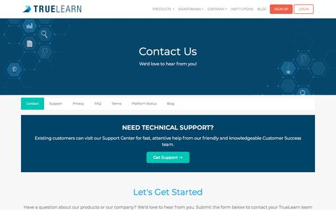 Screenshot of Contact Page truelearn.com - Contact | TrueLearn - captured July 22, 2019