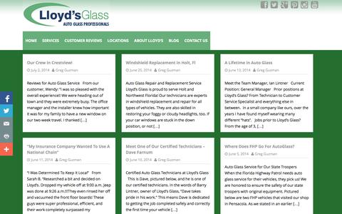 Screenshot of Blog lloydsglass.com - Lloyd's Glass   Auto Glass Professionals - captured Oct. 3, 2014