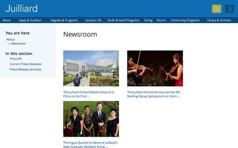 Screenshot of Press Page juilliard.edu - Newsroom   The Juilliard School - captured July 6, 2017