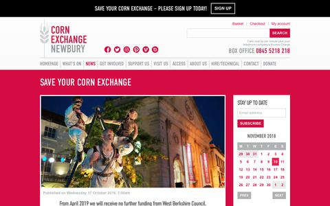 Screenshot of Signup Page cornexchangenew.com - Save Your Corn Exchange – Corn Exchange Newbury - captured Nov. 11, 2018