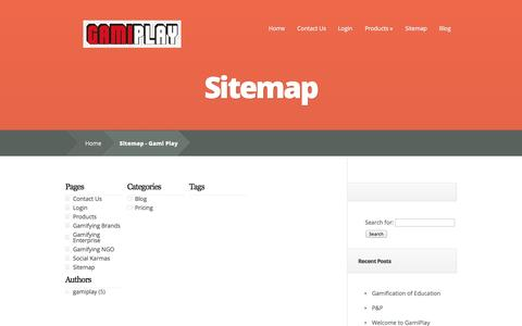 Screenshot of Site Map Page gamiplay.com - Sitemap - Gami Play | Gami Play - captured Sept. 29, 2014